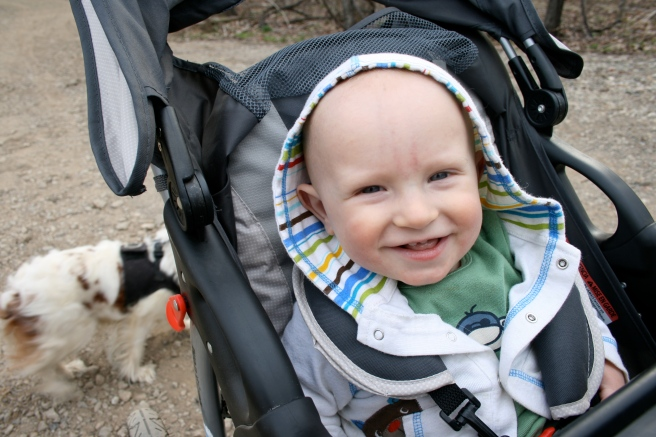 Happy Baby Outside in Stroller Photo