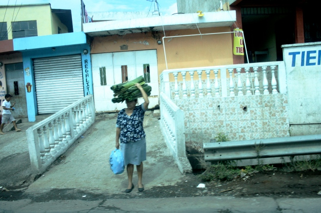 Guatemalan woman carrying on her head