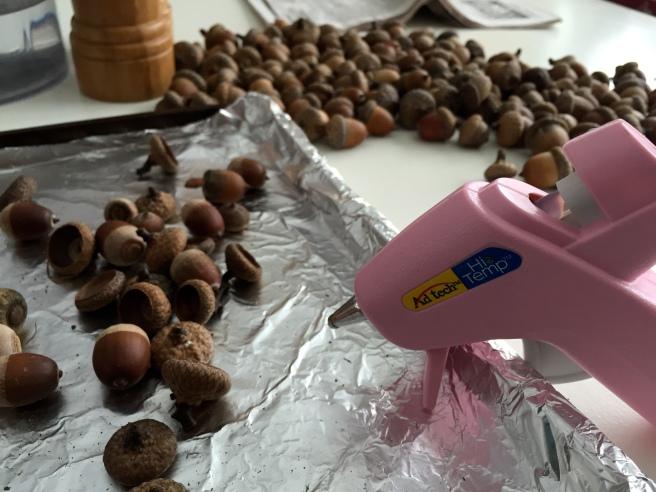 Hot Glued Acorns