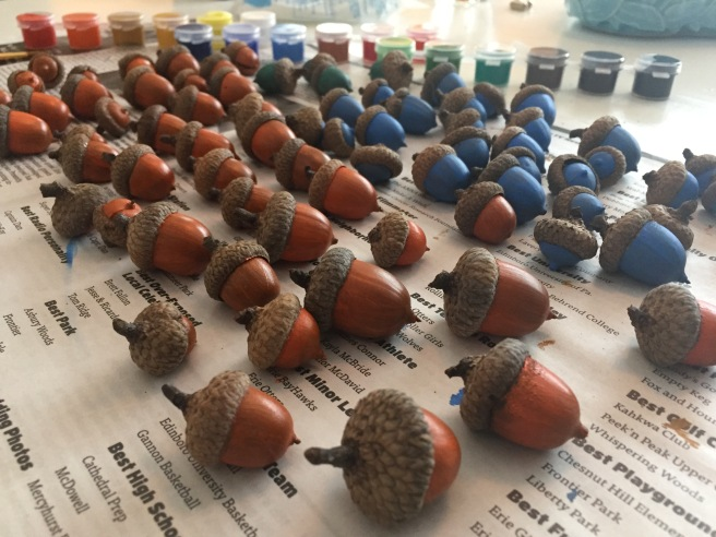 Painted Acorns Drying