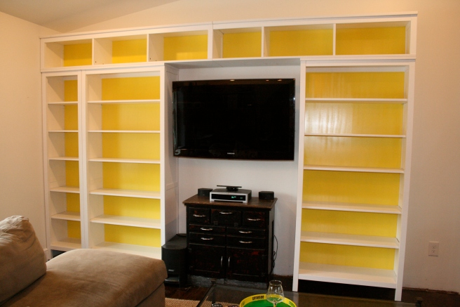 Spray Painted Yellow Backs of Bookcases