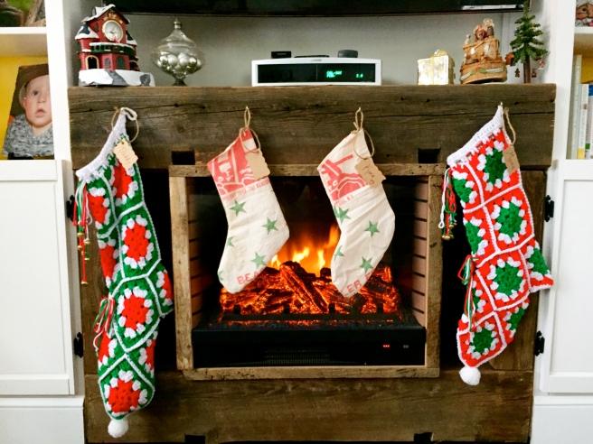 Electric Fireplace with Barn Wood Mantel and Stockings