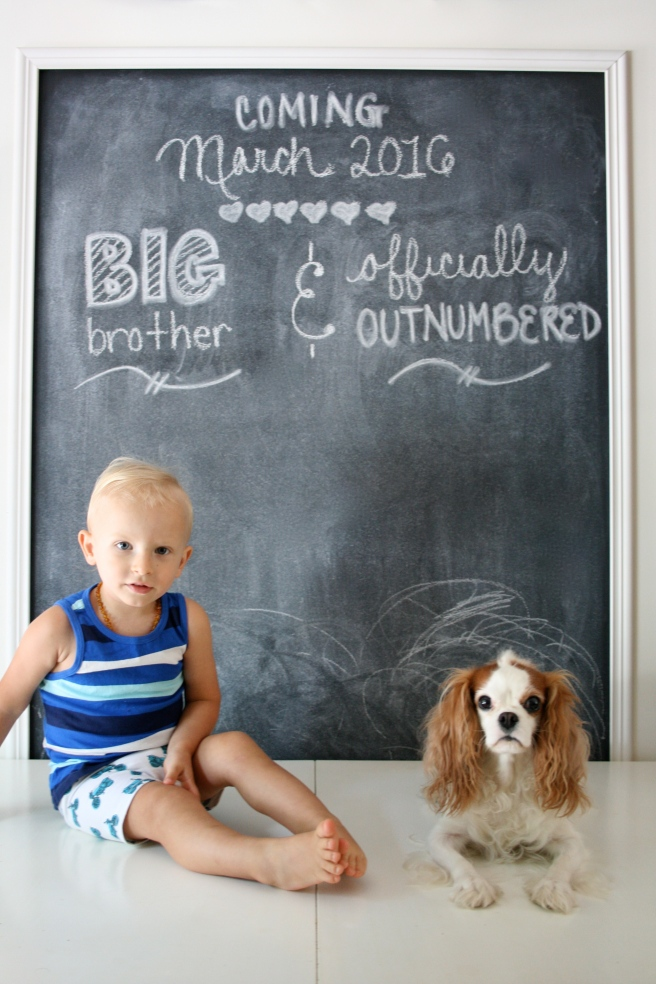 Big brother with dog chalkboard annoucement